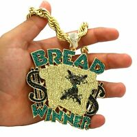 Mens Hip Hop 14k Gold Pl Huge Bread Winner  Pendant / 10mm 24 inch Rope Chain