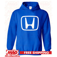 HONDA LOGO IN WHITE HOODIE BLUE Hooded Sweatshirt Motocross Racing CBR Moto