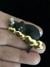 Vintage DANCRAFT Brooch Black Cat Sleeping on Cloud Enamel Figural Pin