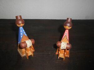 Konvolut 2 Klöpplerinnen Puppen Holz Handarbeit Erzgebirge