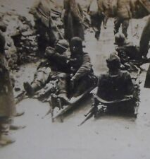 WWI Wounded on Strechers Stereoview Card Free Shipping