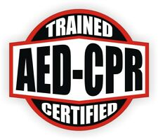 AED CPR Trained Certified Hard Hat Decal / Helmet Sticker EMT Rescue Firefighter