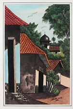 Vintage Nicaragua original painting art work signed by artist Ink and watercolor