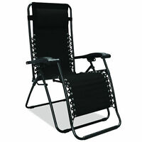 Black Zero Gravity Chair Outdoor Recliner Lawn Patio Pool Camping Deck Beach New