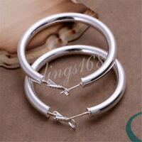 Women's 925 Sterling Silver TARNISH-FREE Classic Round Tubular Hoop Earrings H6