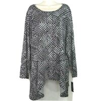 Zac & Rachel Tunic Knit Top Women Size 2X Gray Black Long Sleeve Sharkbite Hem