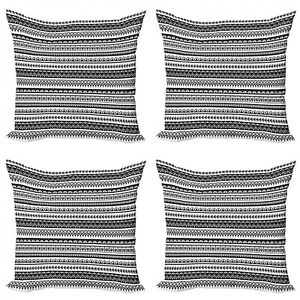 Ambesonne Ethnic Elements Cushion Cover Set of 4 for Couch and Bed in 4 Sizes