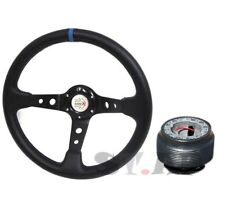Deep Dish 350mm Racing Spoked Steering Wheel+ Hub Adapter Black Blue Mustang PVC