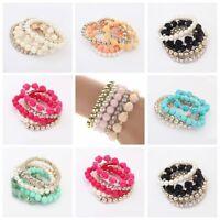 Fashion Women Multilayer Bracelet Rose Rhinestone Bangle Charm Cuff Jewelry Gift