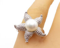 925 Sterling Silver - Freshwater Pearl Star Fish Cocktail Ring Sz 8 - RG4736