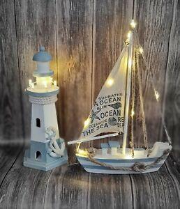 LED Deko Maritim Holz Segelschiff Leuchtturm LED Holz Deko Nordsee Urlaub Meer