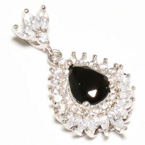 "Brazilian Black Onyx & White Topaz 925 Sterling Silver Pendant 1.20"" T8655"