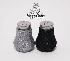Glitter Salt & Pepper Shakers Set Black & Silver