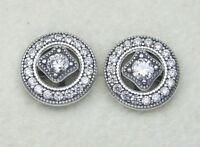 Authentic PANDORA VINTAGE ALLURE Earrings W/ Pandora TAG & HINGED BOX #290721CZ