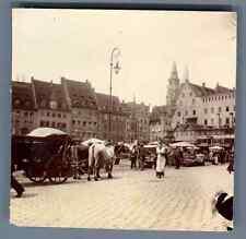 Allemagne, Nürnberg Markt Vintage citrate print. Vintage Germany Tirage citrat