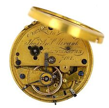 T & J OLLIVANT ENGLISH FUSEE LEVER POCKET WATCH MOVEMENT DIAMOND END STONE R88