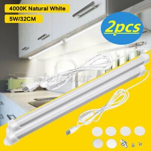 4pcs Kitchen Under Cabinet Shelf Counter USB LED Light Bar Lighting Kit   F@
