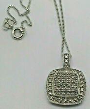 """20"""" Rounded Square Pendant Necklace w/ Diamond Cluster 925 Sterling Silver"""