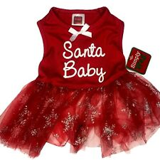 Simply Wag Dog Red Christmas Dress Velvet Tule Santa Baby Holiday Outfit Small