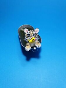 OOAK Realistic tiger cub in bath cat  Dollhouse Handmade IGMA ARTISAN