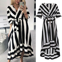 Women Retro V-Neck Half Sleeve Striped Maxi Dress Asymmetry Ruffles Hem Sundress