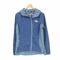 The North Face Women's Blue Full Zip Fleece Lined Hoodie Sweater M Polyester