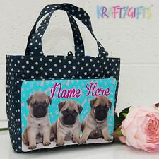 Personalised Pug Puppies Girls Ladies Polka Dot Spotty Insulated Lunch Bag SH199