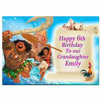 g389; Large A5 Personalised Birthday card; Moana; for any name age; pink or blue