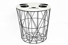 Black Wire Storage Side Table Panda Style Removable Top