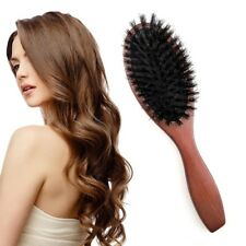 Natural Soft Boar Bristle Oval Hair Brush Comb Scalp Massage Beech Wood Handle