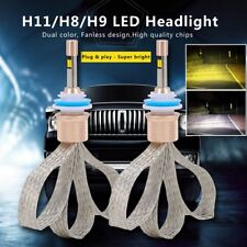 2x H11 80W 11000LM Car LED Headlight Bulb Kit High Power Dual Color White Yellow