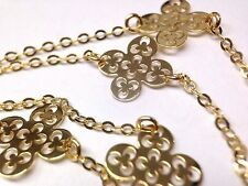 """Fine 18"""" Solid 14K Yellow Gold Italy Openwork 6 Clover Station Necklace"""