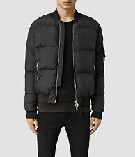 £258 ALL SAINTS FURLOUGH -XS- BLACK PUFF PADDED GOOSE DOWN MA-1 BOMBER JACKET