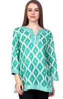 Top 2X Plus Cotton Tunic Mint Green Diamond Print V-Neck 3/4 Sleeve NWT 0166