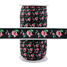 100 Yard Spool - Fold Over Elastic - Roses on Black - 5/8in Wide - FOE