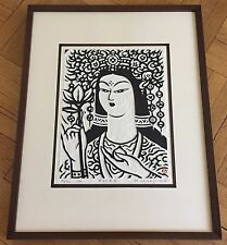 KIHEI SASAJIMA (1906-1993) ORIGINAL TAKUZURI PRINT (WOODBLOCK) WITH FRAME, 1974