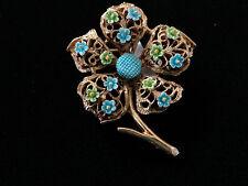 Design Gold Tone Brooch Pin Beautiful Vintage Ljm Enamel Flower