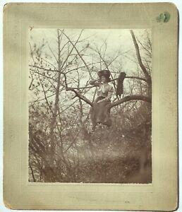 Antique Cross-Dresser Victorian Man In Tree Drag Wig Original Photo Gay Interest
