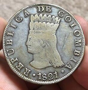 1821 BA JF COLOMBIA 8 REALES CUNDINAMARCA