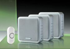 Honeywell 200m Wireless Triple Wall Mounted Silver Doorbell Kit, White Push
