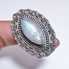 925 Solid Sterling Silver Ring Size UK P 1/2, Rainbow Moonstone Jewelry CR3061