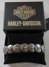 Harley Davidson Mens Everlast Upwing Eagle Concho Black Leather LODIS Wrist Cuff