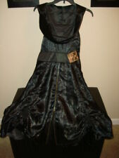 Spin Doctor Black Chinese Dragon Brocade Hooded Saloon Renaissance Dress L