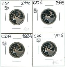 1992 1993 1994 1995 Canada Proof 25 Cents Lot of 4 Uncirculated #12947