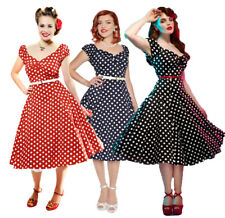 COLLECTIF VINTAGE DOLORES DOLL NAVY POLKA DOT DRESS 8-18 1950S SWEETHEART PIN-UP