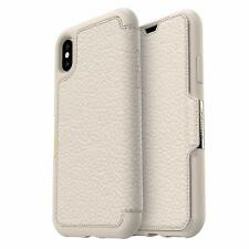 Genuine OtterBox iPhone XS/X Strada Leather Wallet Folio Case Cover Beige White