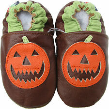 carozoo pumpkin brown 0-6m soft sole leather baby shoes
