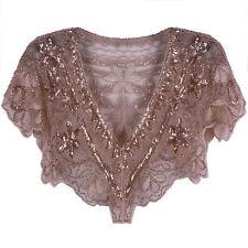 Sequins Cape Jacket Coats Womens Vest Tops Vintage Style Party Dress Shawl Wraps