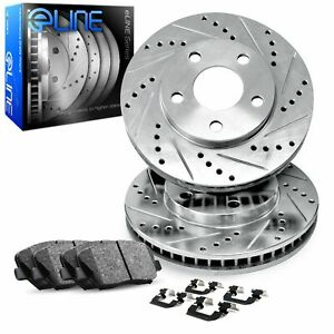 For 2005-2011 Audi A6 Quattro Front Drilled Slotted Brake Rotors + Ceramic Pads