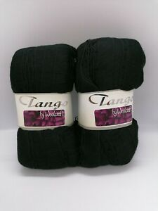 Set of 2 x 100g Balls Tango Scarf Yarn Black Shade 99